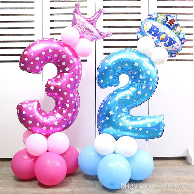 32 Foil Number Blue Pink Balloons Baby Birthday Courtship Wedding Party Decoration Cocktail Decorations Construction Supplies From Lucyzhang0201
