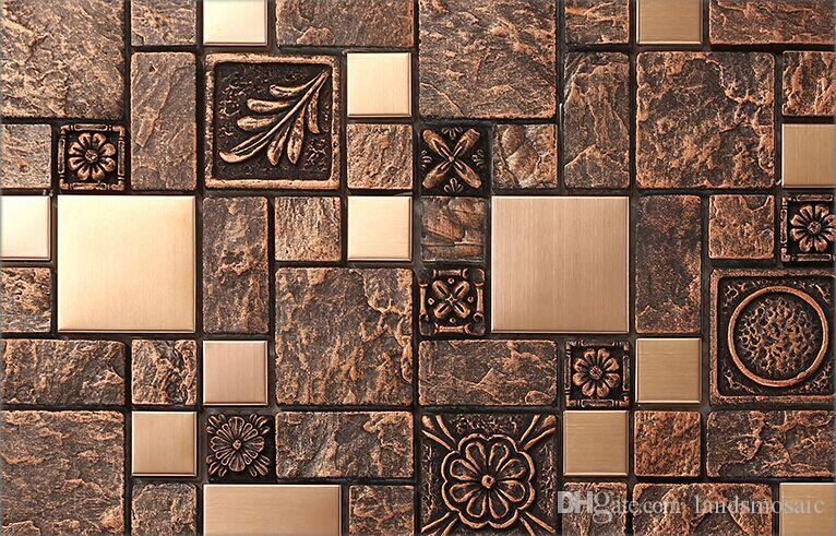 2018 Rustic Brown Resin Copper Tile Design Fireplace Kitchen ...