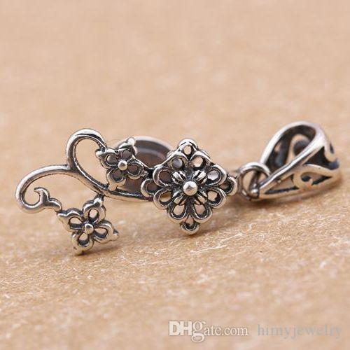 Güzel Gümüş Art Deco Çiçek Gümüş925 Trendy Kolye Toka Klip fit Düzensiz şekil