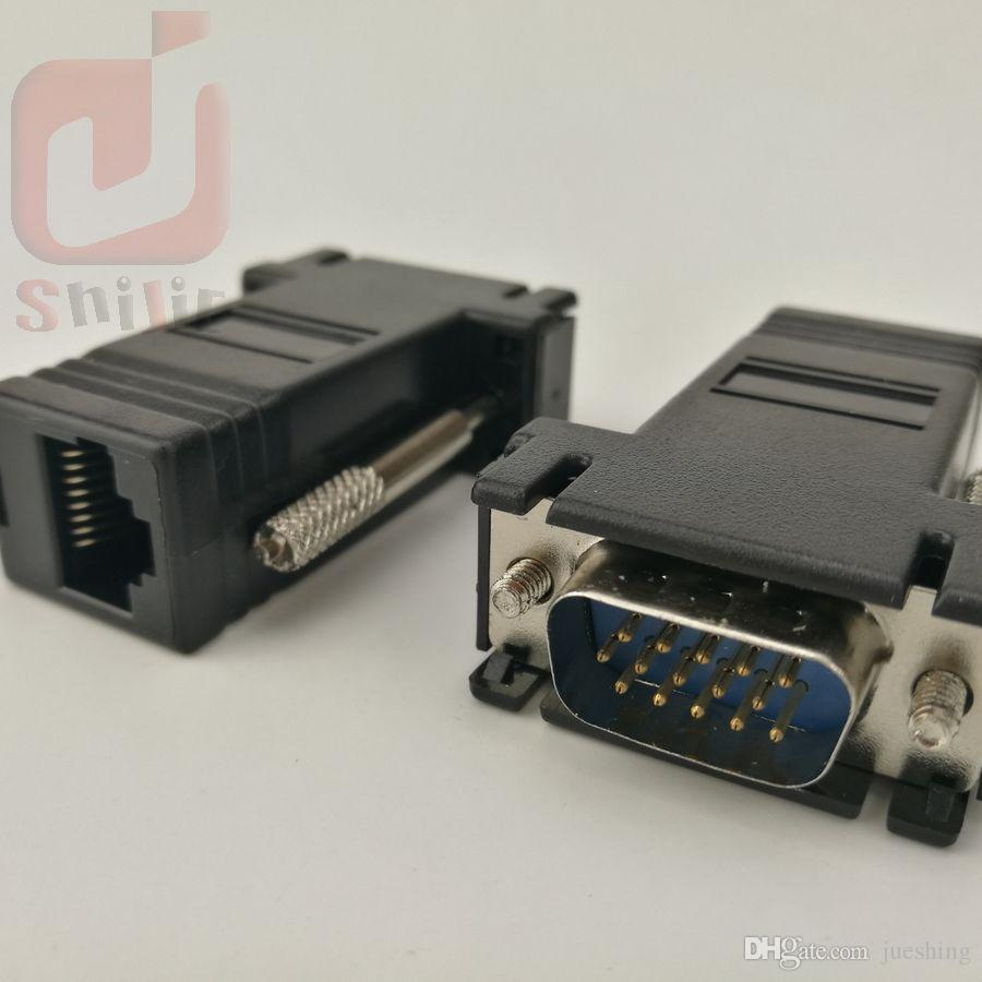 High Quality Network Cable Adapter VGA Extender Male To LAN CAT5 CAT5e CAT6 RJ45 Female 1000ps