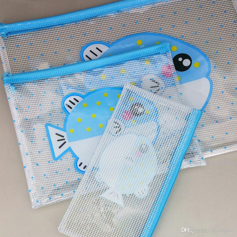 A4/A5/B6 Plastic Soft PVC Document File Folder Zipper Pocket Bags Stationery Organizer 3 Kinds BagsNovelty Cartoon Type