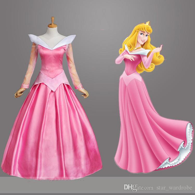 2017 adult pink sleeping beauty costume aurora princess cosplay dress with cloak halloween party stage performance costumes popular halloween themes - Popular Halloween Themes