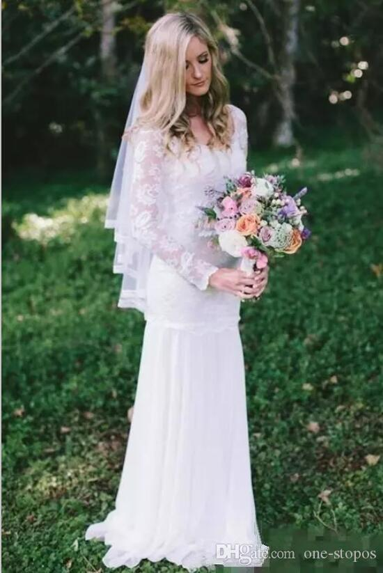 Abiti da sposa a sirena a sirena maniche lunghe in pizzo 2018 Abiti su misura vintage scoop scollo a barchetta abiti da sposa eleganti abiti da sposa