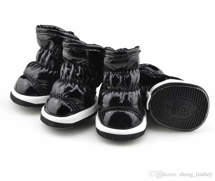 Winter Warm New Fold Space Leather Pet Dog Shoes Plush Lining Outdoor Snow Boots Non slip and Breathable