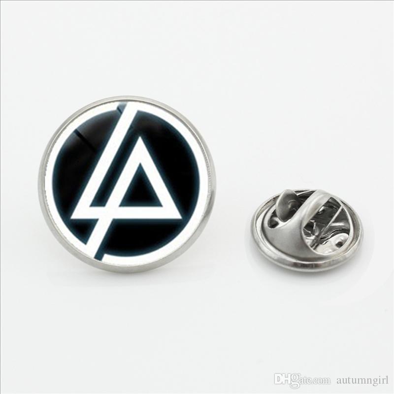 2017 neue Mode Linkin Park logo Revers Pins Handgemachte Linkin Park Rock Band Schmetterling Broschen Pins Glaskuppel Foto Schmuck