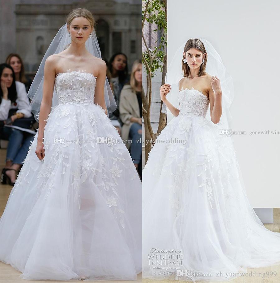 Romantic Princess Ball Gown Wedding Dresses 2018 Oscar De
