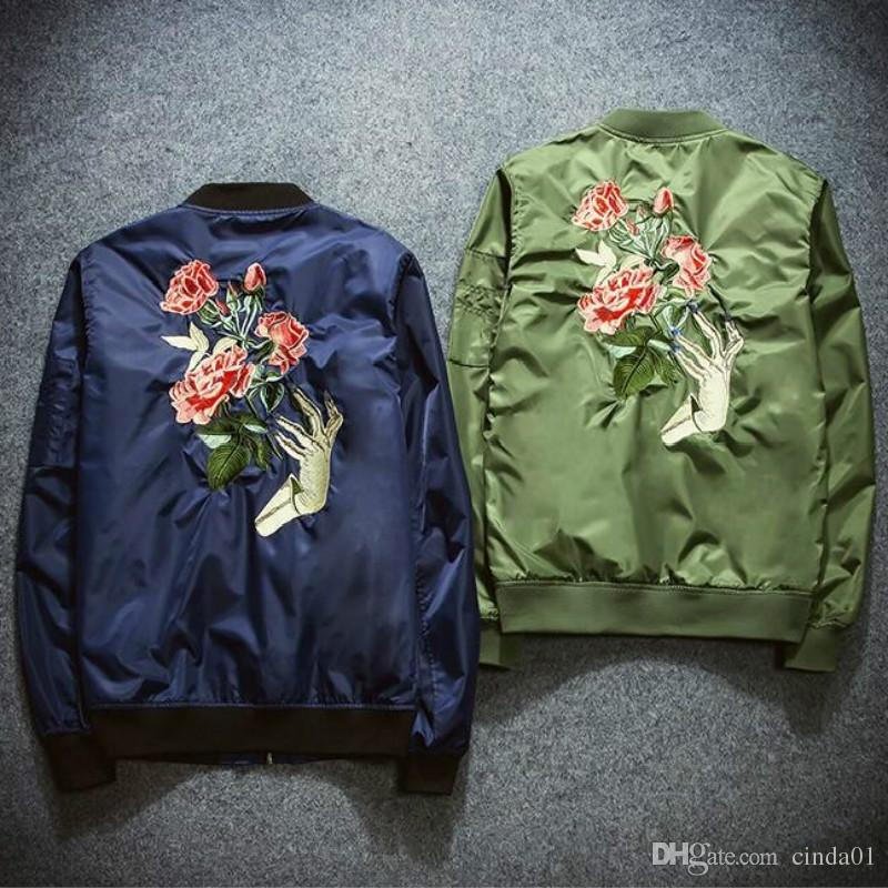 a1219e289 New Mens Fashion Flight Bomber Jackets Male Back Embroidery Florales  Outerwear Sports Coats Army Green Navy Blue Black Cool Jackets Cheap  Leather Jackets ...