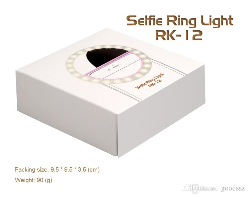 RK12 Anello luminoso ricaricabile selfie con telecamera a LED Fotografia Flash Light Up Anello luminoso con cavo USB universale tutti i telefoni