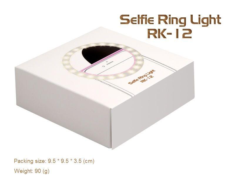 RK12 قابلة لإعادة الشحن ضوء عصابة صورة شخصية مع كاميرا LED التصوير فلاش تضيء حلقة Selfie مضيئة مع كابل USB العالمي لجميع الهواتف