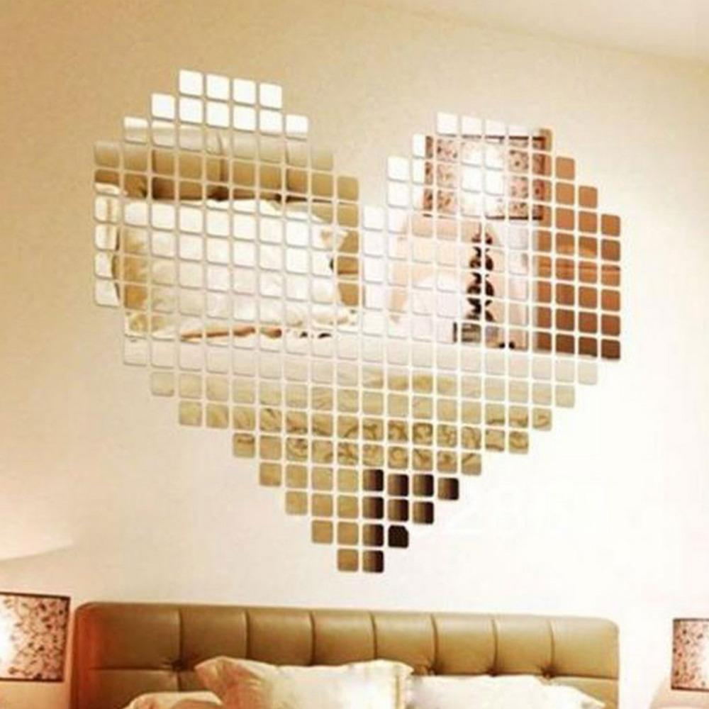 Grosshandel Wholesale 100 Stuck Selbstklebende Fliesen 3D Spiegel Wandaufkleber Aufkleber Mosaik Zimmer Dekorationen Moderne
