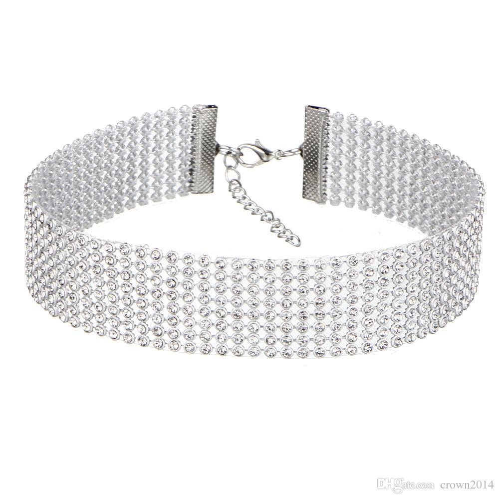Günstige Mode Frauen Voll Kristall Strass Chokers Halskette Für Frauen Silber Schmuck Farbige Diamanterklärung Halskette