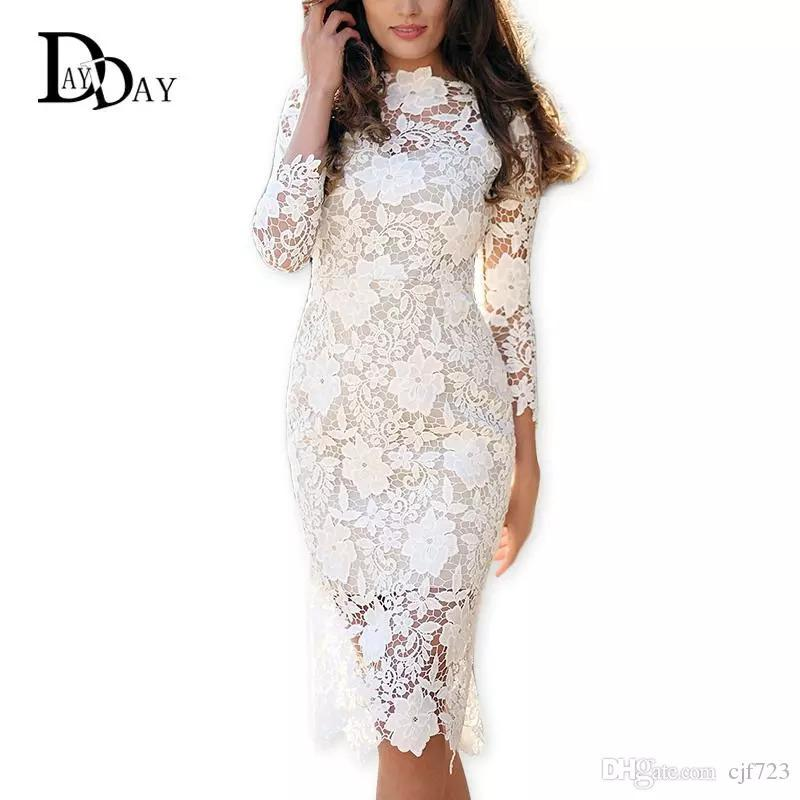 369c2f74faa 2017 Summer Women White Lace Dresses Bodycon Floral Crochet Lace Long  Sleeve Midi Elegant Sheath Pencil Party Dresses S147163 Dresses For Ladies  Discount ...