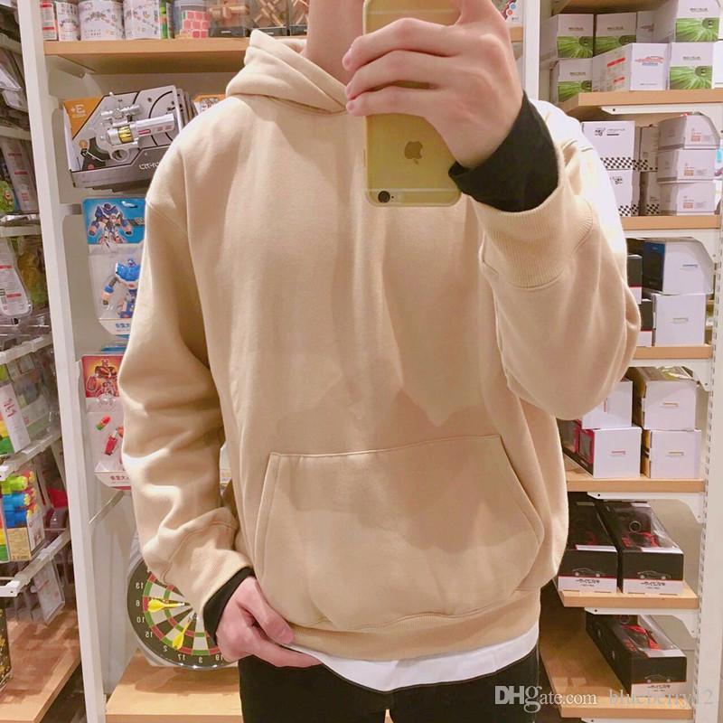2017 Autum Winter Fashion Hot Mens Hooded Hoodies Solid Color Warm fleece Pullover Hoodie Sweatshirts