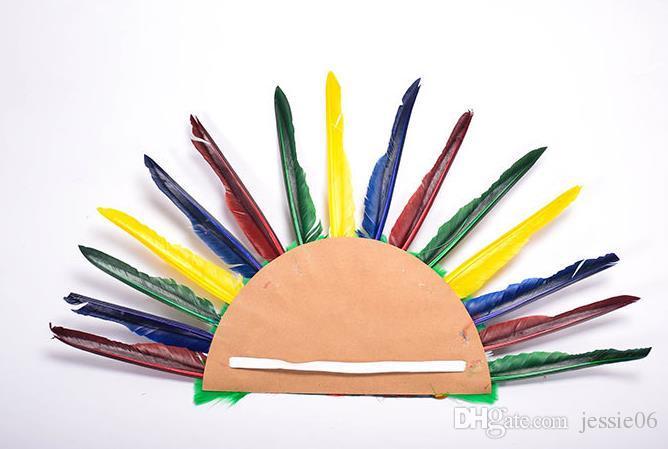 Pluma india headdress corona war bone cap halloween traje de disfraces sombrero fiesta diadema cap colorido adolescentes adultos favores