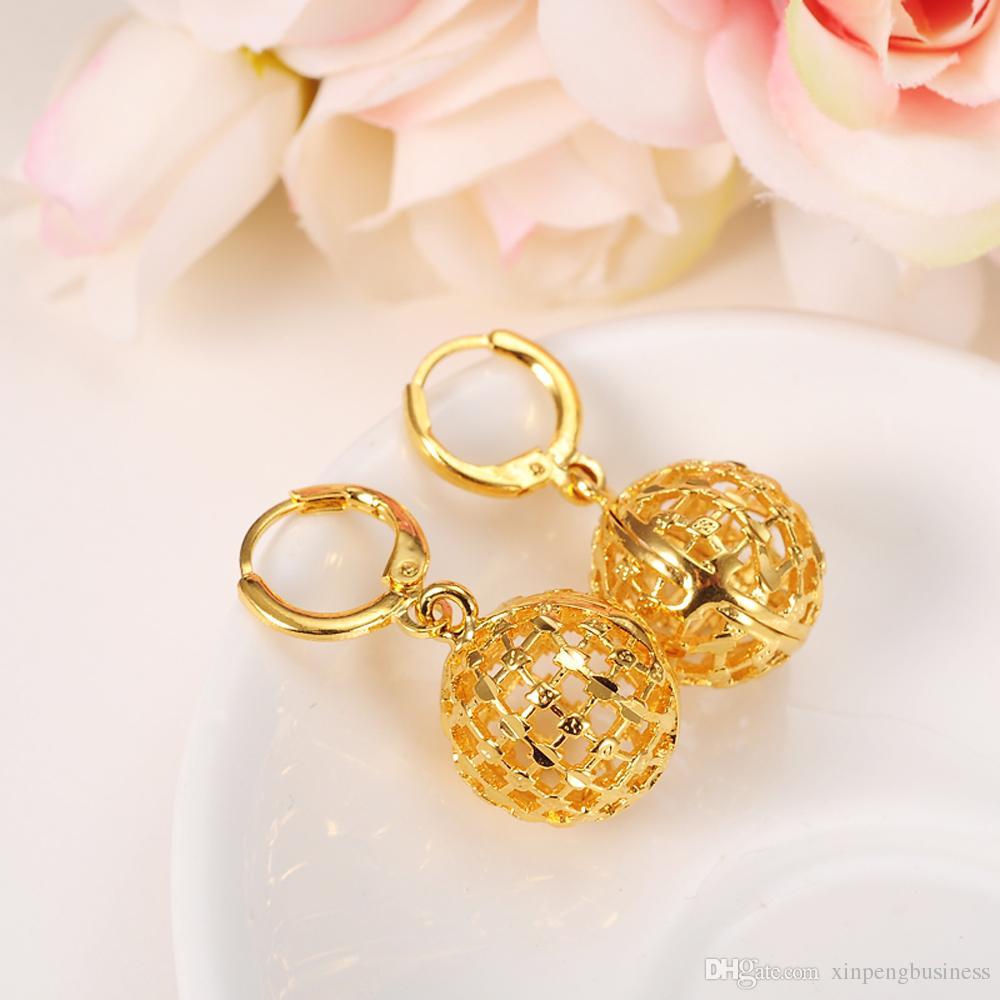 Hohle runde Kugel Anhänger Halskette Kette Ohrringe setzt Schmuck 24K Solid Fine Gold GF Bead Halsketten setzt für Frauen