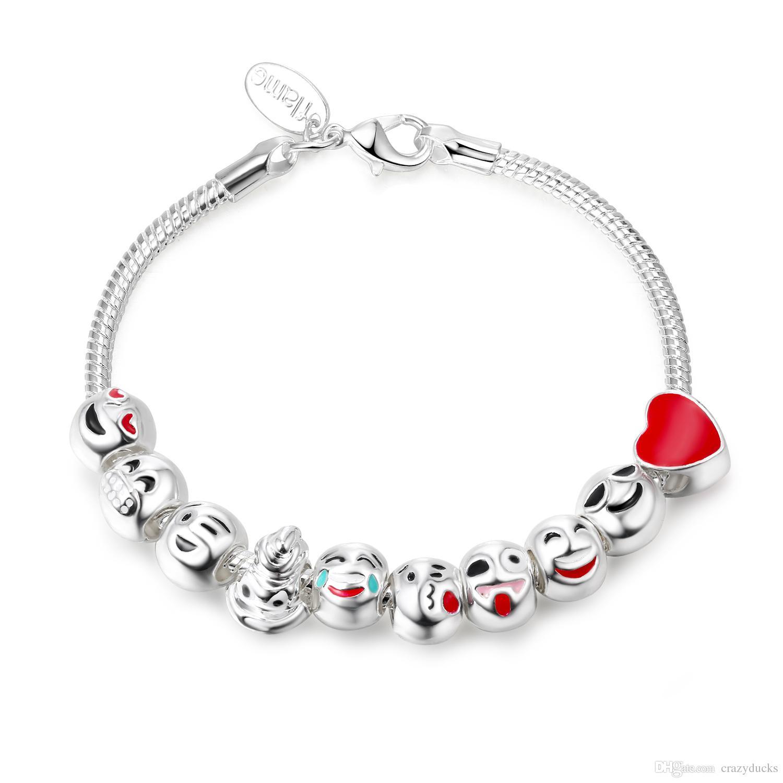 uk availability 50516 7afd3 Nuovi bracciali Emoji smalto carino per bambini Smile Beads Charms  Bracciali Braccialetti per le donne Pulseras gioielli fai da te SL80