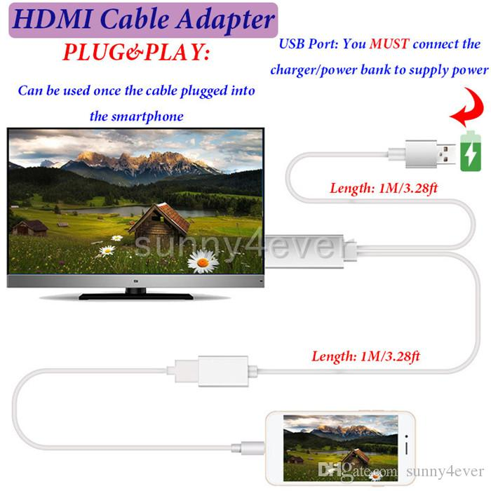 High Quality HDMI Adapter Cable 1080P For Samsung Galaxy S6 s7 s8 Edge note5 Iphone 5 6 7 plus LG G4 Ipad Air 2 to HDTV TV Connector