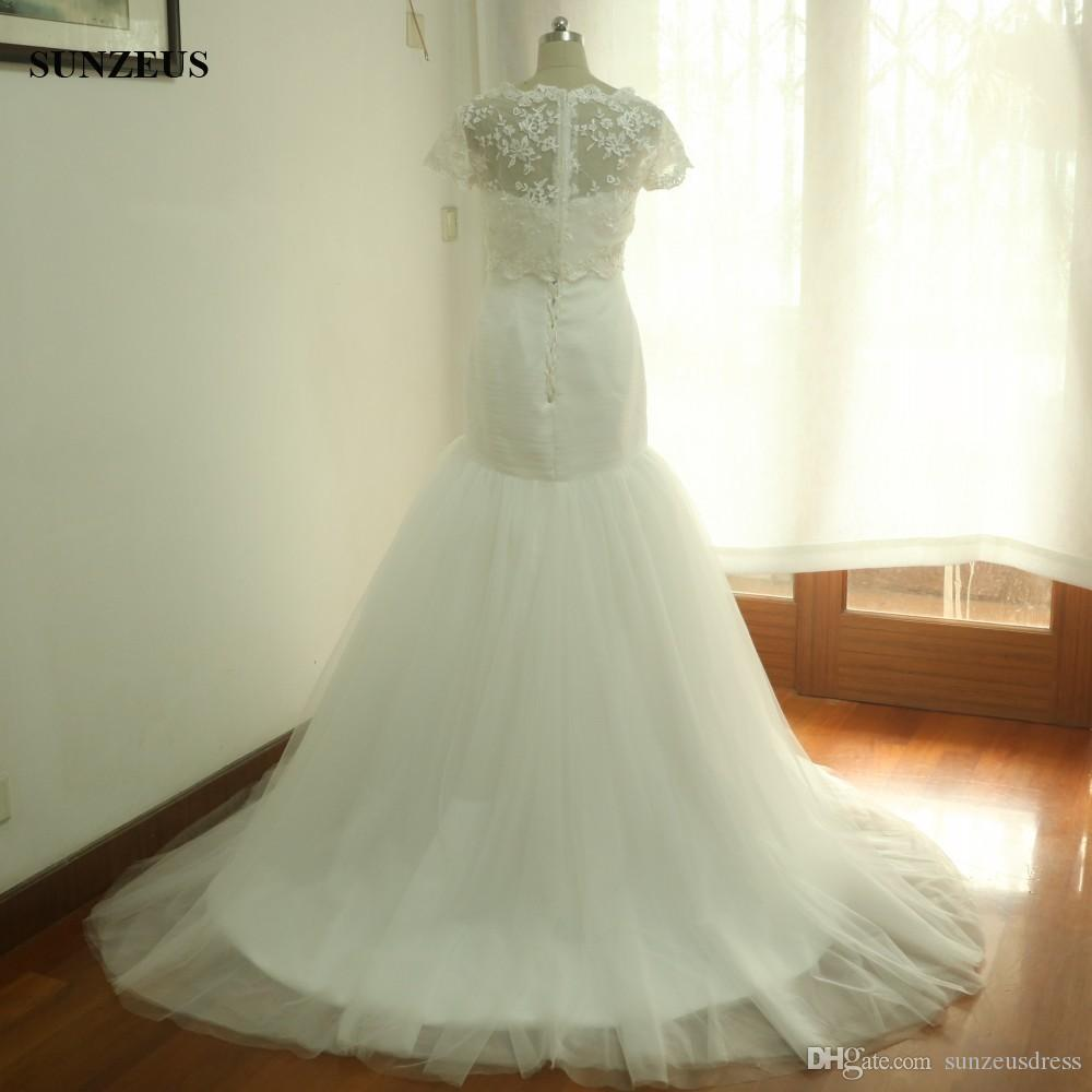 Real Picture Mermaid Wedding Dresses With Lace Jacket Pleated Corset Sweetheart Tulle Bridal Gowns Long Elegant vestido de casamento