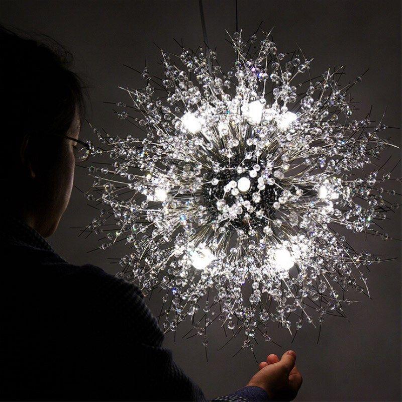 Moderne Dandelion LED-Deckenleuchte Kristall-Kronleuchter Beleuchtung Globe Kugelpendelleuchte für Esszimmer Schlafzimmer Wohnzimmer-Beleuchtungskörper