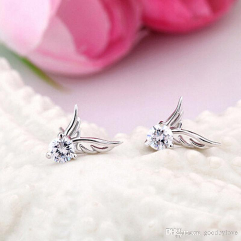 White Gold Color Big Cubic Zirconia CZ Wings Piercing Stud Earrings Fashion Party Jewelry Bijoux for Women Festive Hot Gift
