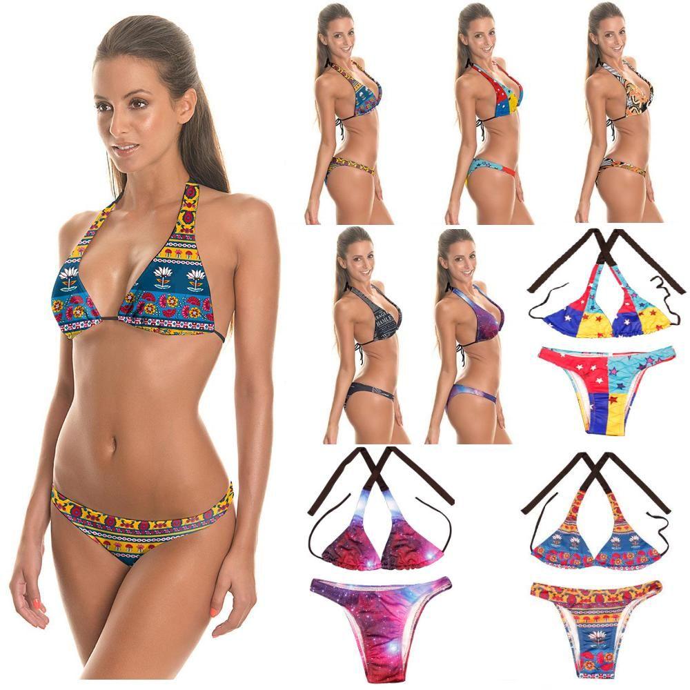 62558ecf39 2019 Bathing Suit Low Waist Swimsuit Bikinis Women African Print Inspired  Two Piece Swimwear Bandage Strappy Bikini Sets From Swallow2014520