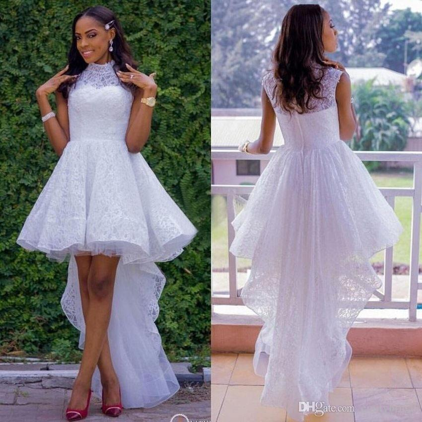 Discount High Low Style White Lace Informal Wedding Dress African Women Cheap Party Reception Bridal Gowns 2017 Beach Bride Buy Dresses