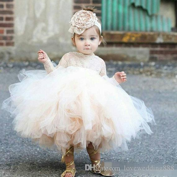 Baby Infant Toddler Pageant Clothes flower girl dress, long sleeve lace tutu dress, ivory and champagne flower girl dress wedding dresses