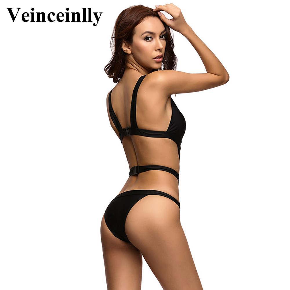 2017 Black V neck mesh splicing sexy one piece swimsuit for women swimwear female bandage bathing suit swim wear monokini V327