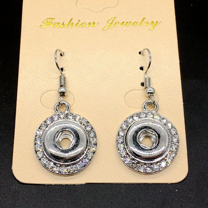 Женщины мода белый кристалл щелкает серьги Diy Оснастки ювелирные изделия взаимозаменяемые 12 мм Fit имбирь щелкает кнопку Шарма