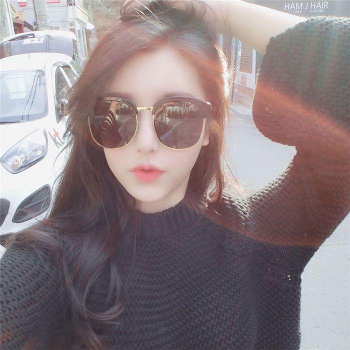 2017 Korean Women Sunglasses Retro Round Face Long Face