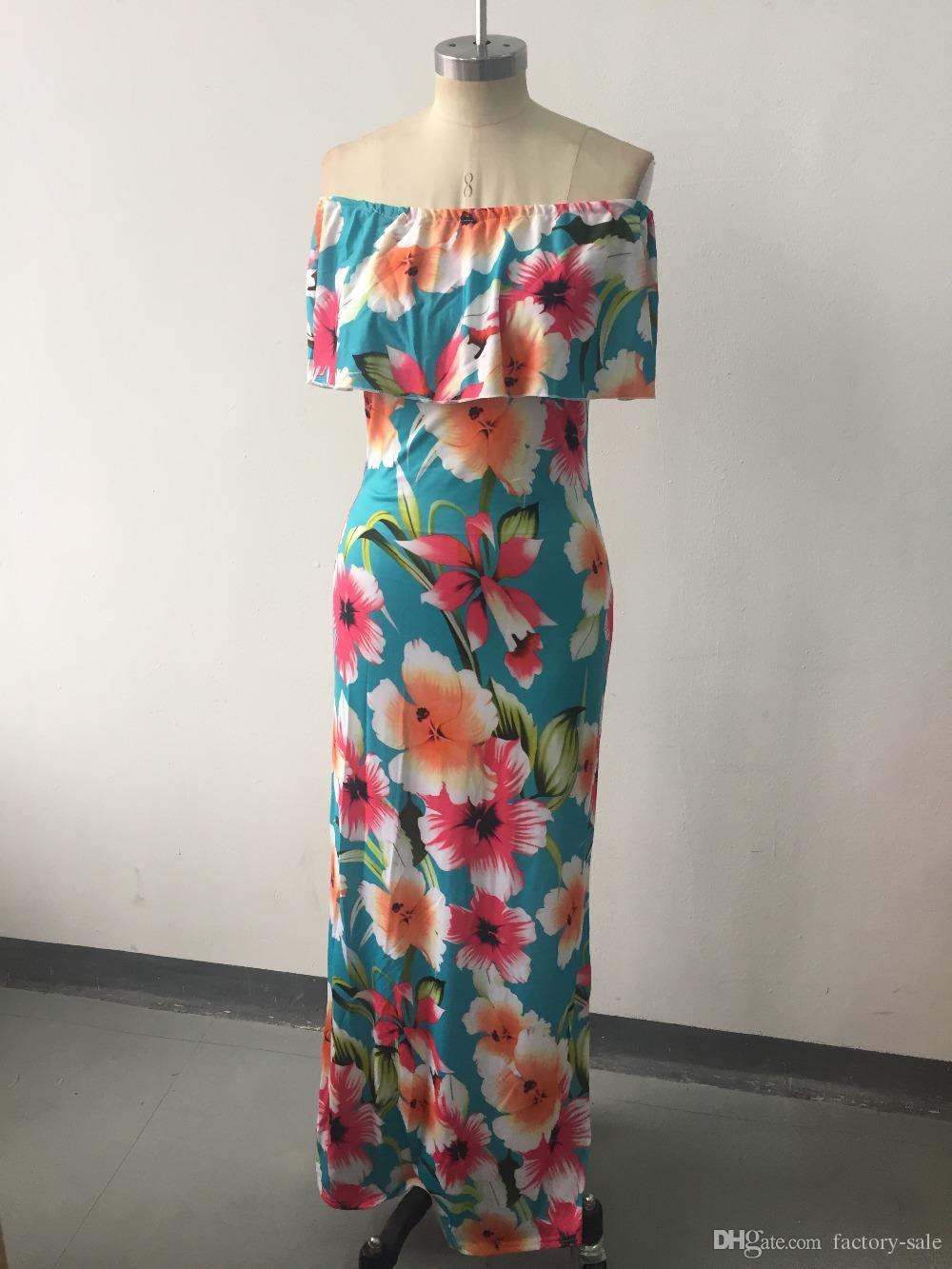 Vestiti lunghi stampati a buon mercato di estate Maxi vestiti dalle donne 2019 al largo della spalla Abiti da spiaggia Fodero aderente a pavimento a terra Vacanze FS1179