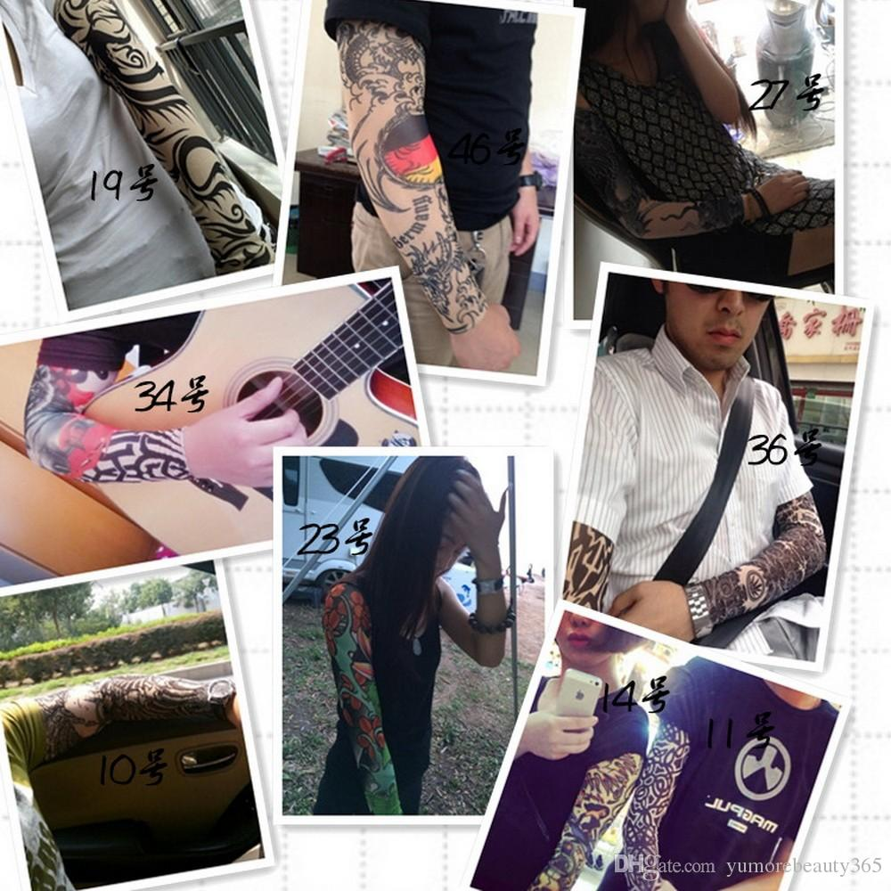 nuovo misto 92% nylon elastico falso tatuaggio temporaneo manica disegni body calze braccio tatuaggio uomini donne freddi