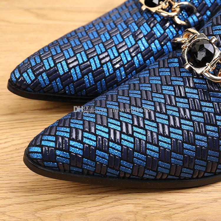 이탈리아 스타일 남자 드레스 신발 캐주얼 패션 디자이너 정품 비즈니스 짠 가죽 신발 남자 플랫 남성 발 착용 웨딩 구두