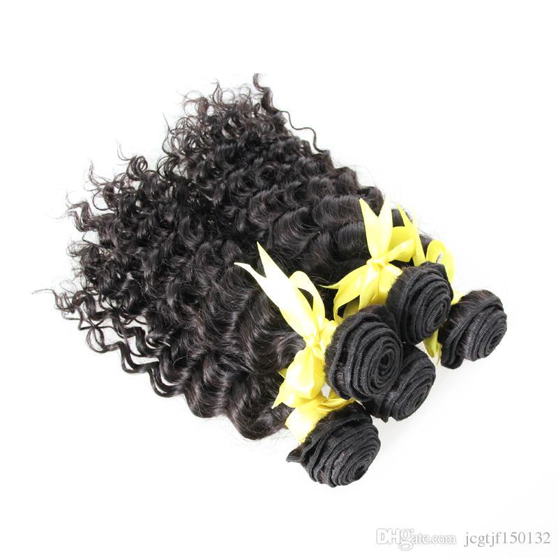 Onda profunda Brasileira Feixes de tecelagem de cabelo Brasileiro Tecelagem Cor Natural Tecer Cabelo Humano