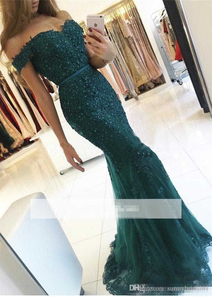 2017 New Charming Dark Green Mermaid Evening Dresses Off the Shoulder Lace Appliques Prom Dresses Girls Party Wear BA3809