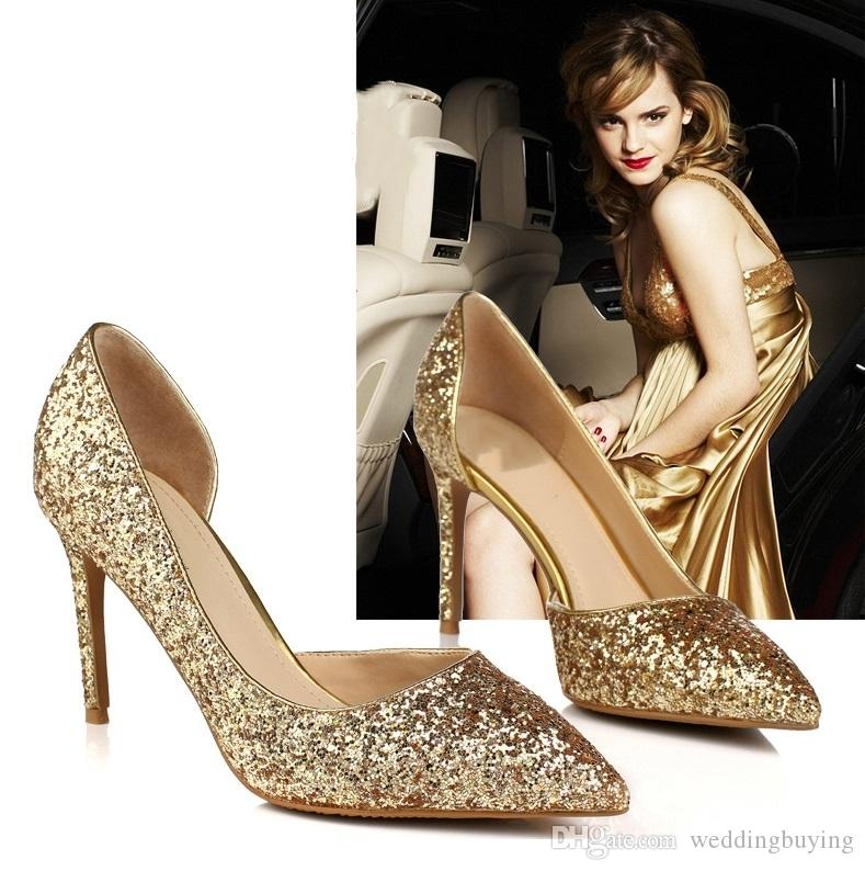 Compre Venta Caliente Nuevo Estilo Zapatos De Tacones Altos Brillante  Cristalino De Oro De La Boda Novia Zapatos Más Ligeros Para Los Zapatos De  Las Mujeres ... 63edff0c0046