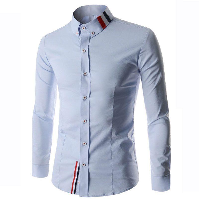 2018 wholesale new men shirt chemise homme 2016 fashion mens slim fit long sleeve dress shirts. Black Bedroom Furniture Sets. Home Design Ideas