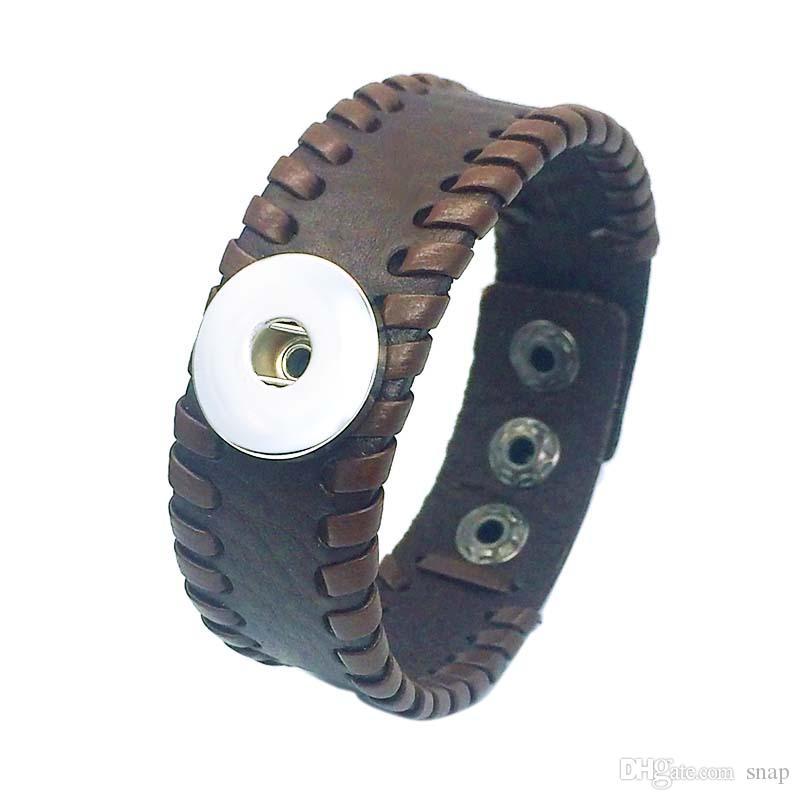 Venta al por mayor de la pulsera de cuero genuina de la pulsera 162 del cuero genuino de la pulsera de la pulsera del encanto del encanto del jengibre 18 de la perla
