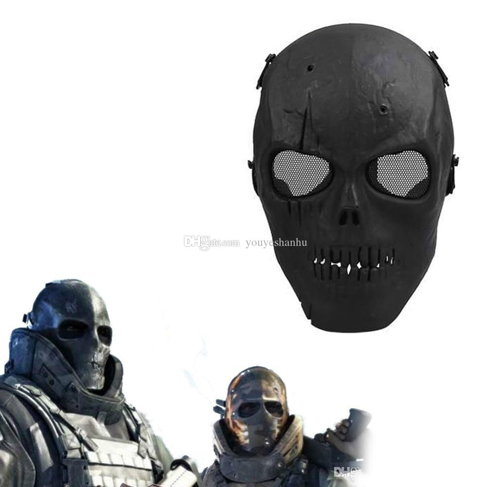 2016 Army Mesh Full Face Mask Skull Skeleton Airsoft Paintball Bb ...