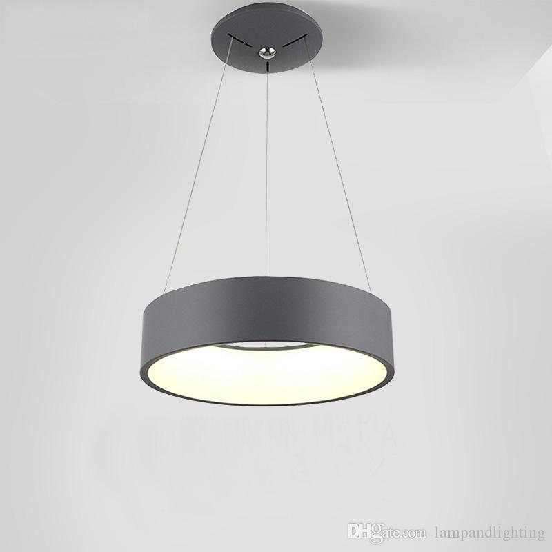 현대 둥근 LED 펜던트 램프 3 색 D45cm D60cm 실내 조명 식당 의자 천장 조명 실내 조명 lamparas techo