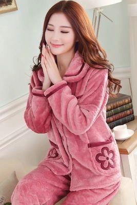 bb77b723b4 Wholesale- Women Flannel Thick Pajamas Coral Velvet Home Service ...