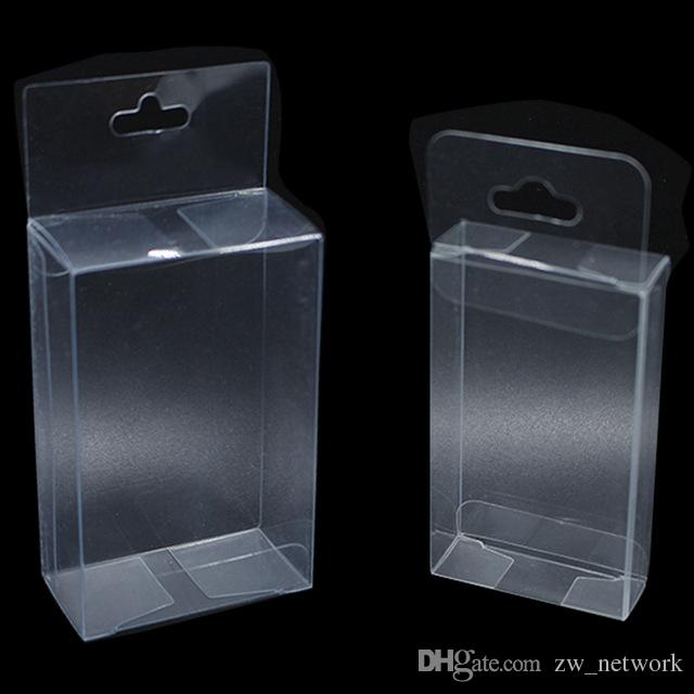 PVC Clear Plastic Packaging Boxes with Hang Hole Small Craft Gift Wedding Party Favor Transparent Package Box 77