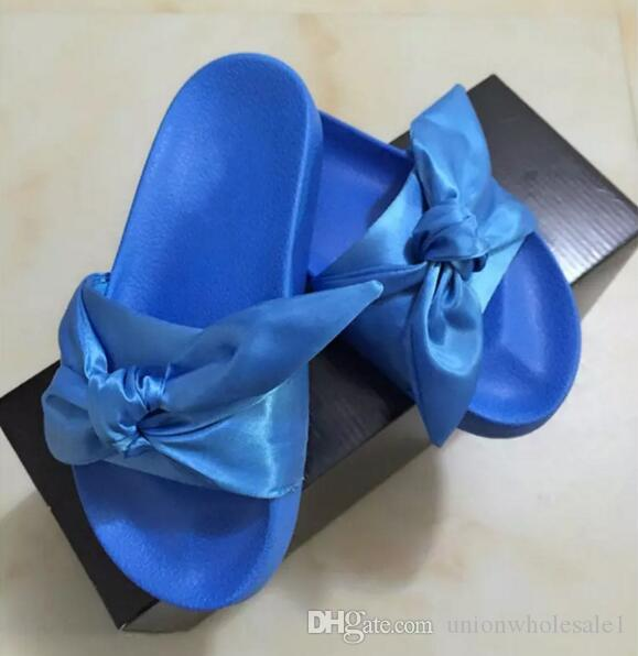 e0e09b45645f Women Slipper Fenty Rihanna Slippers Bow Bandana Slide Slippers Fenty Bow  Slides For Women Indoor Slides With Box And Dust Bags Wedges Shoes Leather  Boots ...