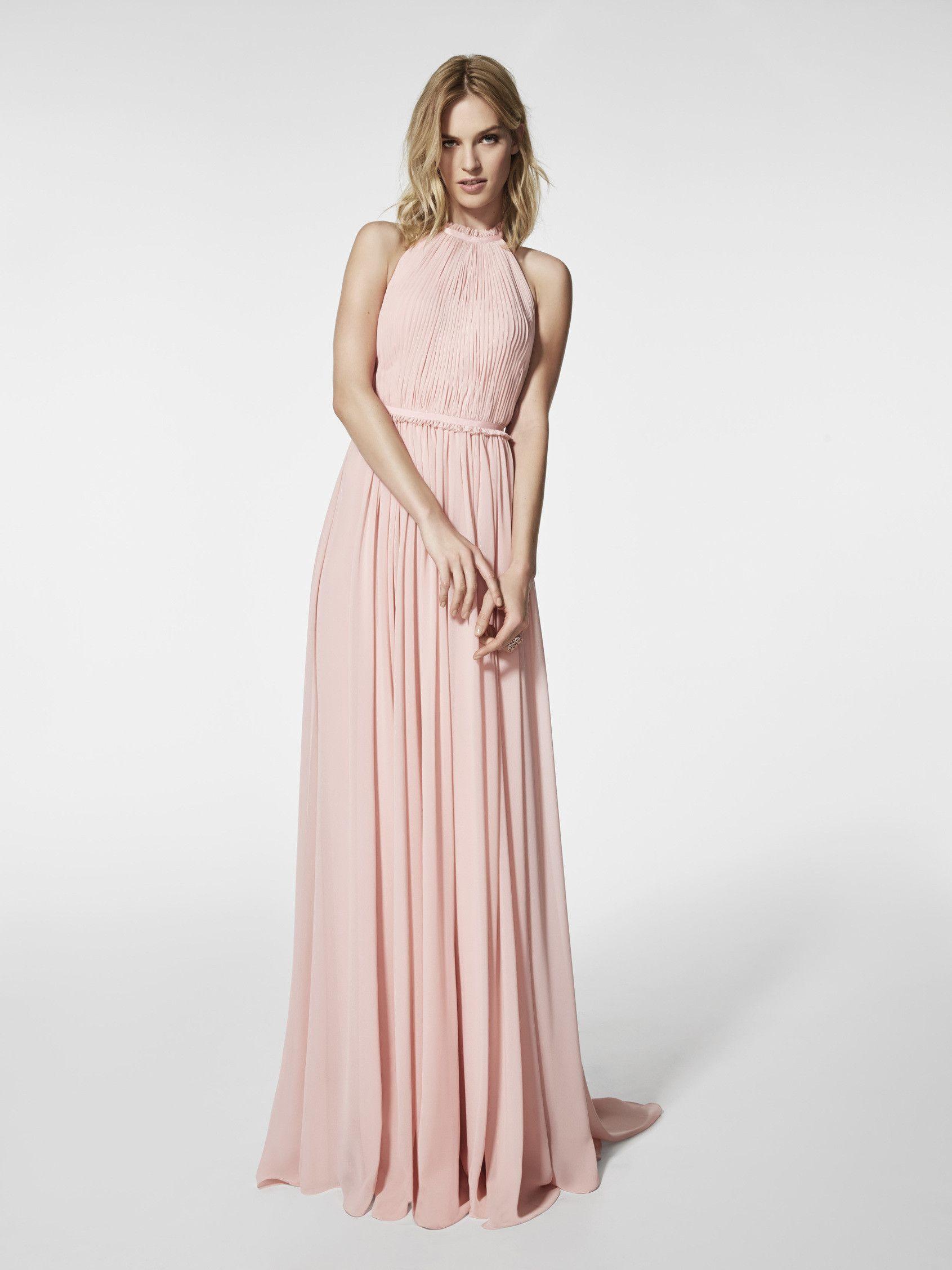 New Design Simple A Line Halter Evening Dress Pleats Top Chiffion ...