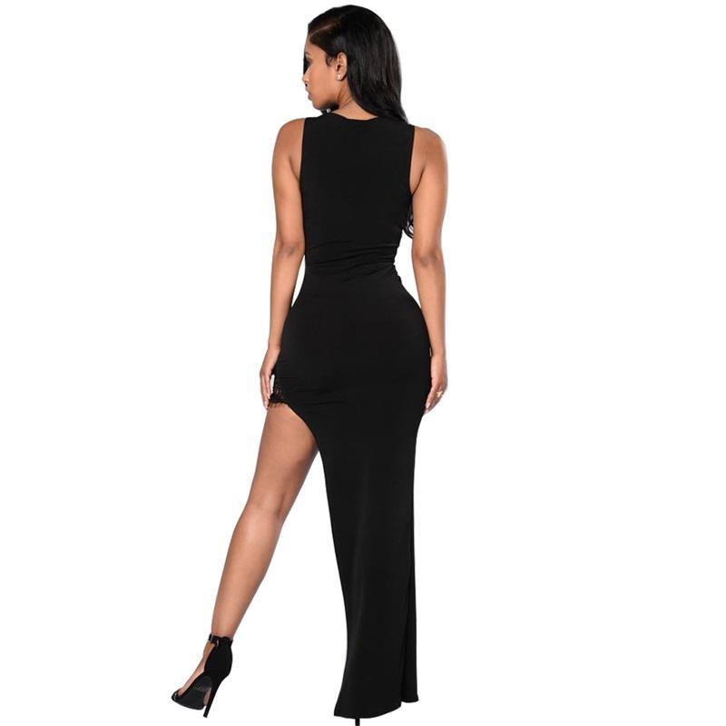 European Women Party Long Dress irregular hem summer large size asymmetrical Patchwork Lace Maxi Dresses Sexy Club Vestidos