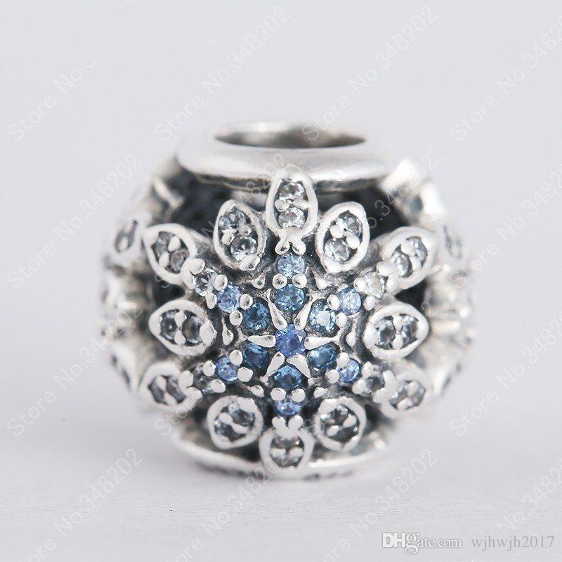 Nouveau Authentique 925 Sterling Argent De Noël Flocon De Neige Ajouré Charmes Perles avec Cristal Bleu Clair Pour Les Femmes Bracelets DIY Bijoux