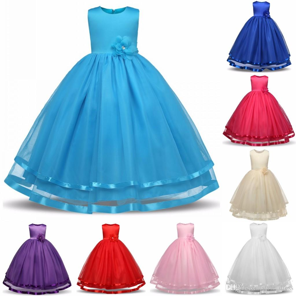 Kids Girls Party Wear Costume For Children Summer Princess Wedding ...