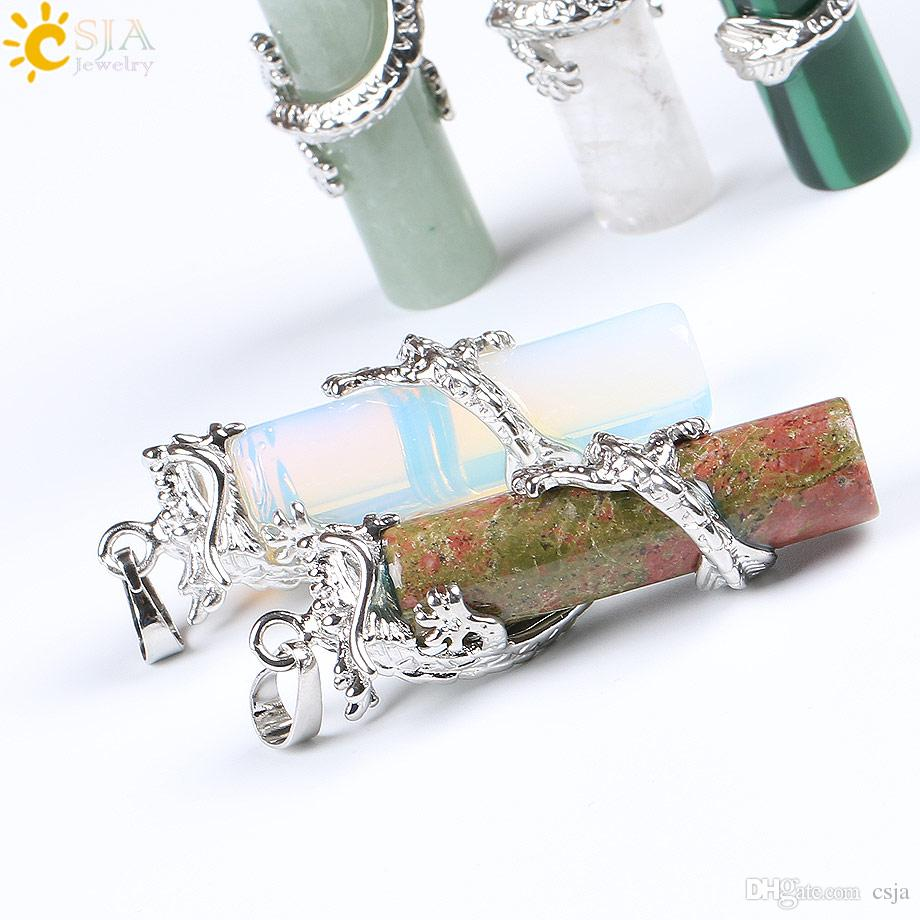 CSJA Reiki Dragon Wrap Drop Ciondolo in pietra naturale Gioielli maschili maschili Opal White Crystal Charms galleggianti Pendulum Amulet Jewellery E181 A