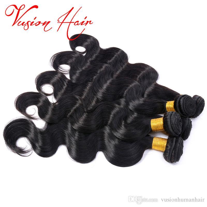 3 bundles lotto brasiliano dei capelli del virgin dell'onda del corpo malese peruviano capelli indiani bagnato e ondulato visone capelli brasiliani dell'onda del corpo di colore nero naturale