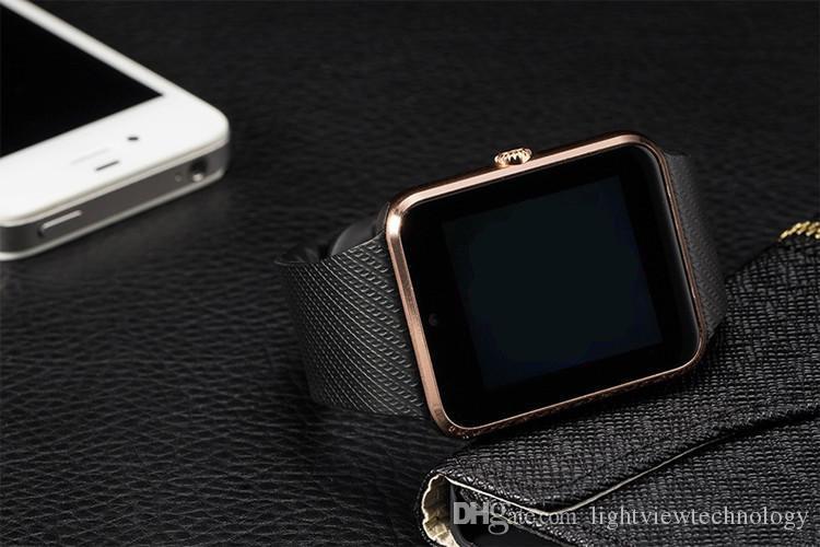 GT08 Smart Watch desgaste de la muñeca del teléfono para Android IOS Soporte SIM / TF Card cámara podómetro Sleep Monitoring VS DZ09 alta calidad